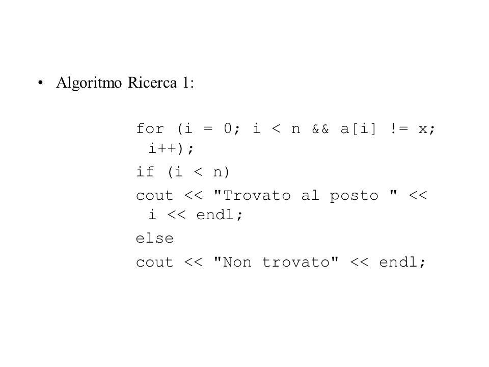 Algoritmo Ricerca 1: for (i = 0; i < n && a[i] != x; i++); if (i < n) cout << Trovato al posto << i << endl;